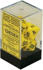 7 die Polyhedral Yellow w/Black Dice Block - CHX25402