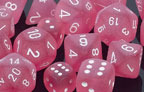 Frosted Pink w/White Polyhedral Dice Set (7)