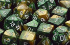 Gemini Gold-Green w/White Polyhedral Dice Set (7)