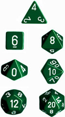 Green w/White Opaque Polyhedral 7-die Set
