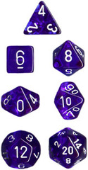 Translucent Blue / White 7 Dice Set - CHX23006