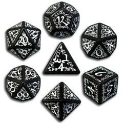 Black & White Elven 7 Dice set