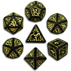 Black & Yellow Elven 7 Dice set