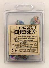 10 Festive Vibrant w/brown D10 Dice - CHX27241