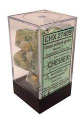 7 Marble green w/dark green Polyhedral Dice Set - CHX27409