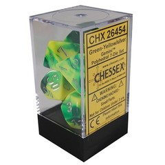 7 Green-Yellow/silver Gemini Polyhedral Dice Set - CHX26454