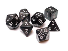 Borealis Smoke w/Silver Set of 7 Dice - CHX27428