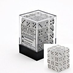 Frosted Clear w/Black 12mm d6 Dice Block (36)