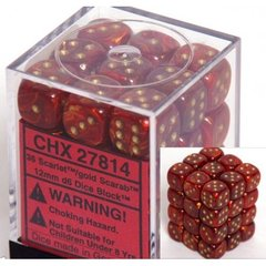 36 Scarlet w/gold Scarab 12mm D6 Dice Block CHX 27814