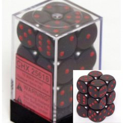 12 Black w/red Opaque 16mm D6 Dice Block - CHX25618