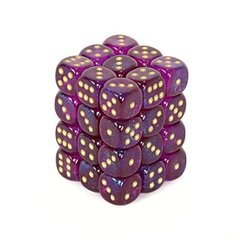 36 Royal Purple w/gold Borealis 12mm D6 Dice Block CHX 27867