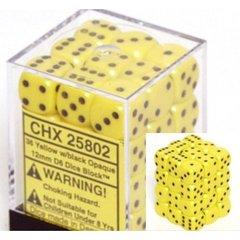 36 Yellow w/black Opaque 12mm D6 Dice Block - CHX25802