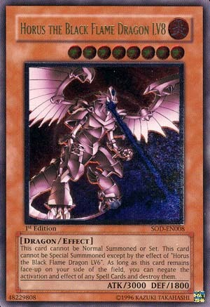 Horus the Black Flame Dragon LV8 - SOD-EN008 - Ultimate Rare - 1st Edition