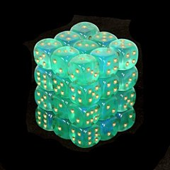 36 Light Green w/gold Borealis 12mm D6 Dice Block
