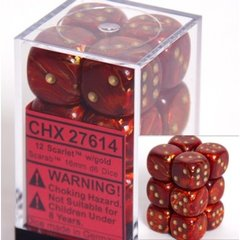 12 Scarlet w/gold Scarab 16mm D6 Dice Block - CHX27614