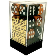 12 Black-Copper/wht Gemini 16mm D6 Dice Block - CHX26627