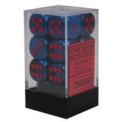12 Black-Starlight/red Gemini 16mm d6 Dice Block - CHX26658