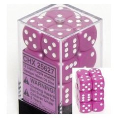 12 Light Purple w/white Opaque 16mm D6 Dice Block - CHX25627