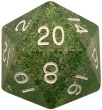 Acrylic Dice 35mm Mega D20 Ethereal Green with White Numbers
