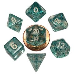 7 Count Mini Dice Poly Set: Ethereal Light Blue With White Numbers