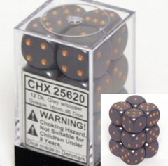 12 Dark Grey w/copper Opaque 16mm D6 Dice Block - CHX25620