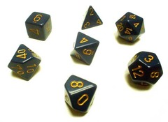 Opaque Dusty Blue / Gold 7 Dice Set - CHX25426