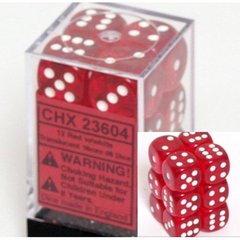 12 Translucent Red w/white 16mm d6 Dice Block - CHX23604