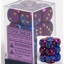 12 Blue-Purple w/gold Gemini 16mm D6 Dice Block - CHX26628