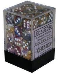 12 Carousel/White 16mm D6 Nebula Dice Block - CHX27840