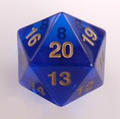 Jumbo Spindown D20 55mm Translucent Blue