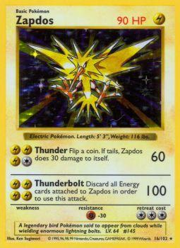 Zapdos - 16/102 - Holo Rare - Shadowless Edition