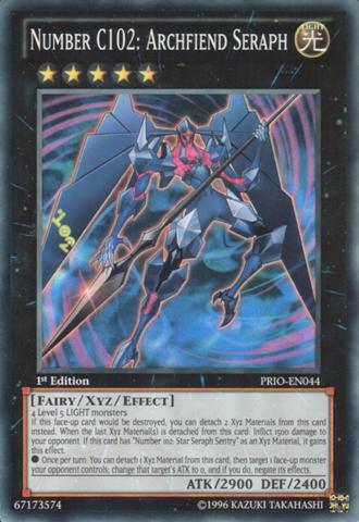 Number C102: Archfiend Seraph - PRIO-EN044 - Super Rare - 1st Edition