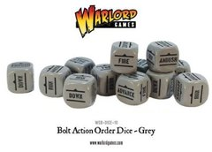 12 Grey Bolt Action Order D6 Dice Set