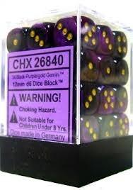 Black-Purple/Gold Gemini 12mm D6 Dice Block - CHX26840