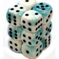 16mm D6: White & Teal with Black (12) - CHX26644