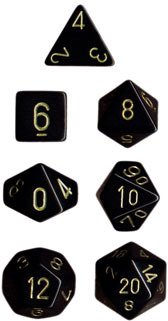 Opaque Black / Gold 7 Dice Set - CHX25428