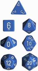 Opaque Light Blue / White 7 Dice Set - CHX25416