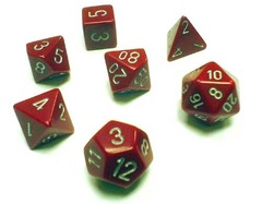 Opaque Red / Silver 7 Dice Set - CHX25434