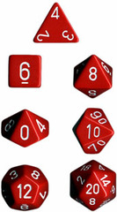 Opaque Red / White 7 Dice Set - CHX25404