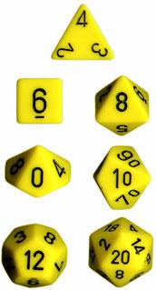 Opaque Yellow / Black 7 Dice Set - CHX25402