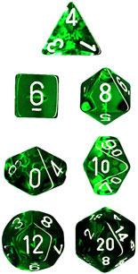 Translucent Green / White 7 Dice Set - CHX23075