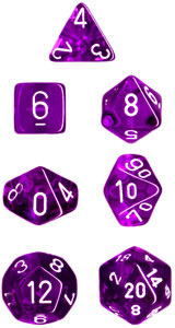 Translucent 7 Dice set (CHX23007) - Purple / White