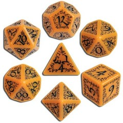 Elven Orange / Black 7 Dice Set
