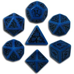 Blue & Black Elven 7 Dice set