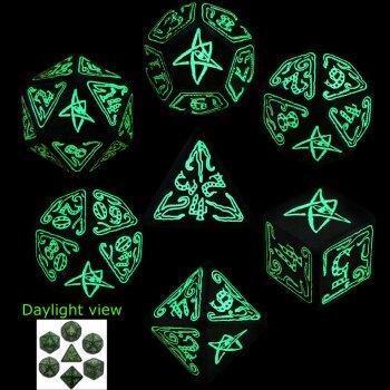 Cthulhu Green Glow in the Dark 7 Dice set