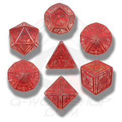 Translucent & Red NUKE 7 Dice set
