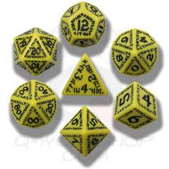 Yellow & Black Runic 7 Dice set