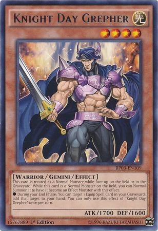 Knight Day Grepher - BP03-EN109 - Rare - 1st Edition
