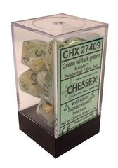 7 Marble w/dark green Polyhedral Dice Set - CHX27409