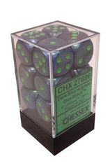 12 Dark Blue w/green 16mm D6 Dice Block - CHX27696